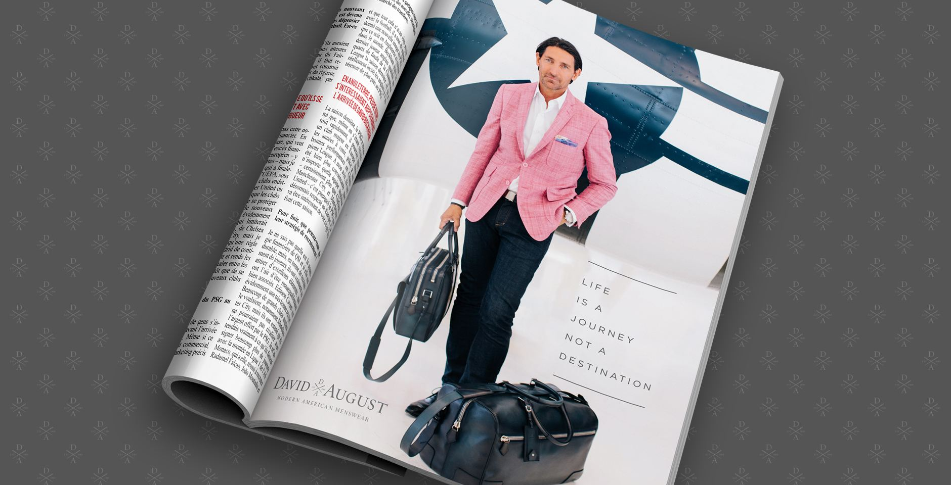 david august print ad magazine campaign lyon air museum pink jacket