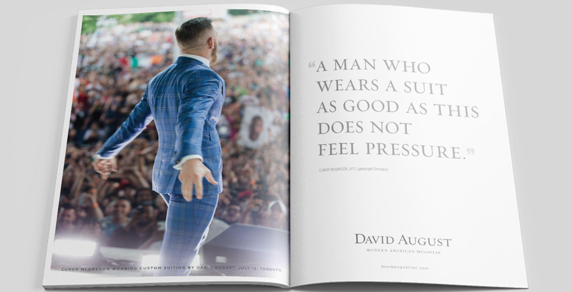 david august conor mcgregor magazine spread blue suit promotion fight