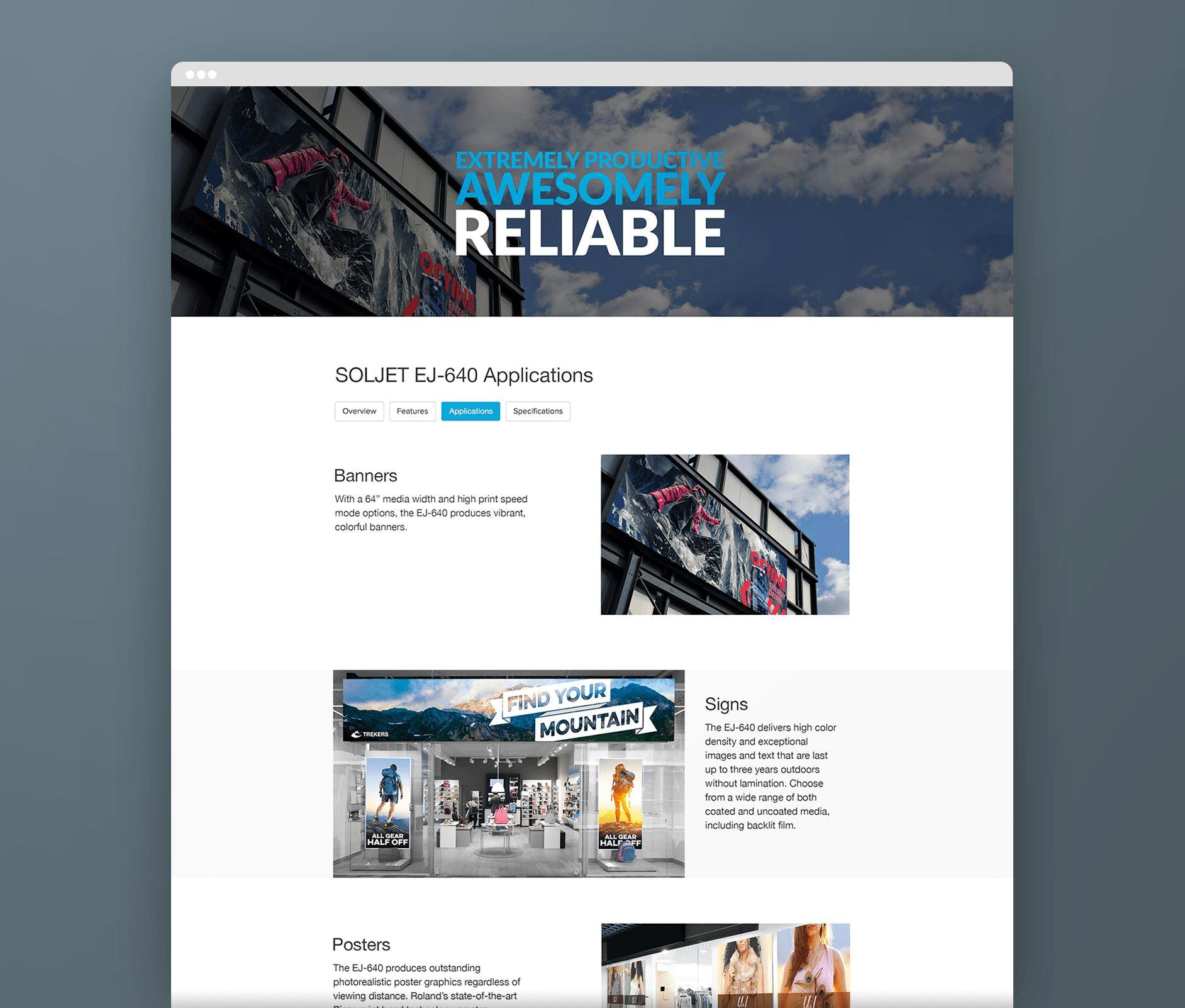 roland responsive website design mockup