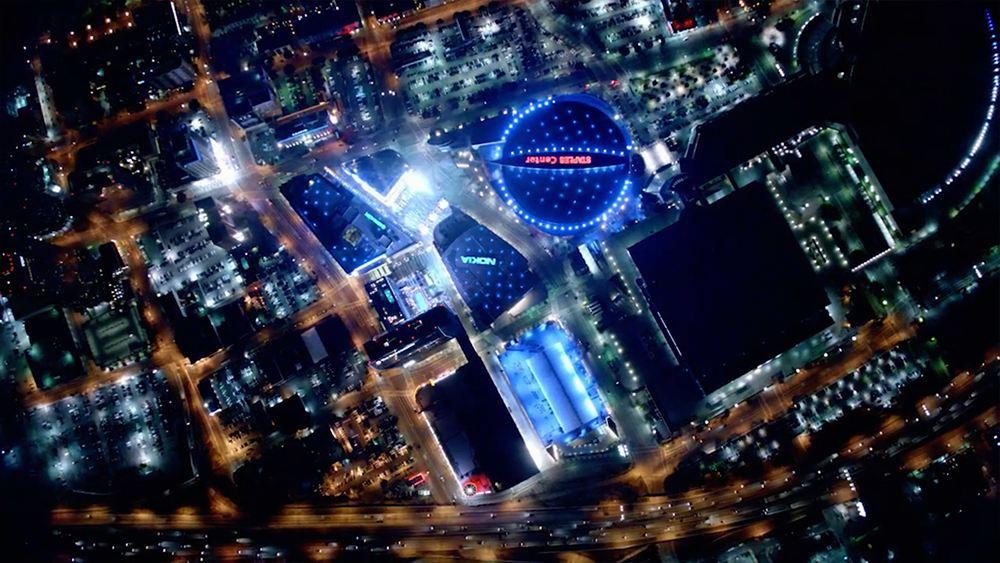 LA Tourism - LA Story Commercial aerial shot of staples center and downtown LA