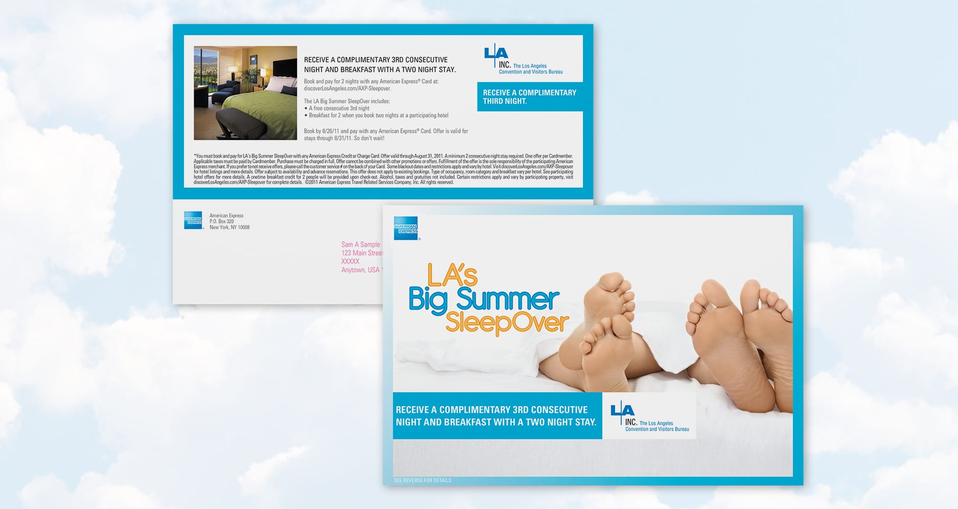 big summer sleepover AMEX extra night postcard