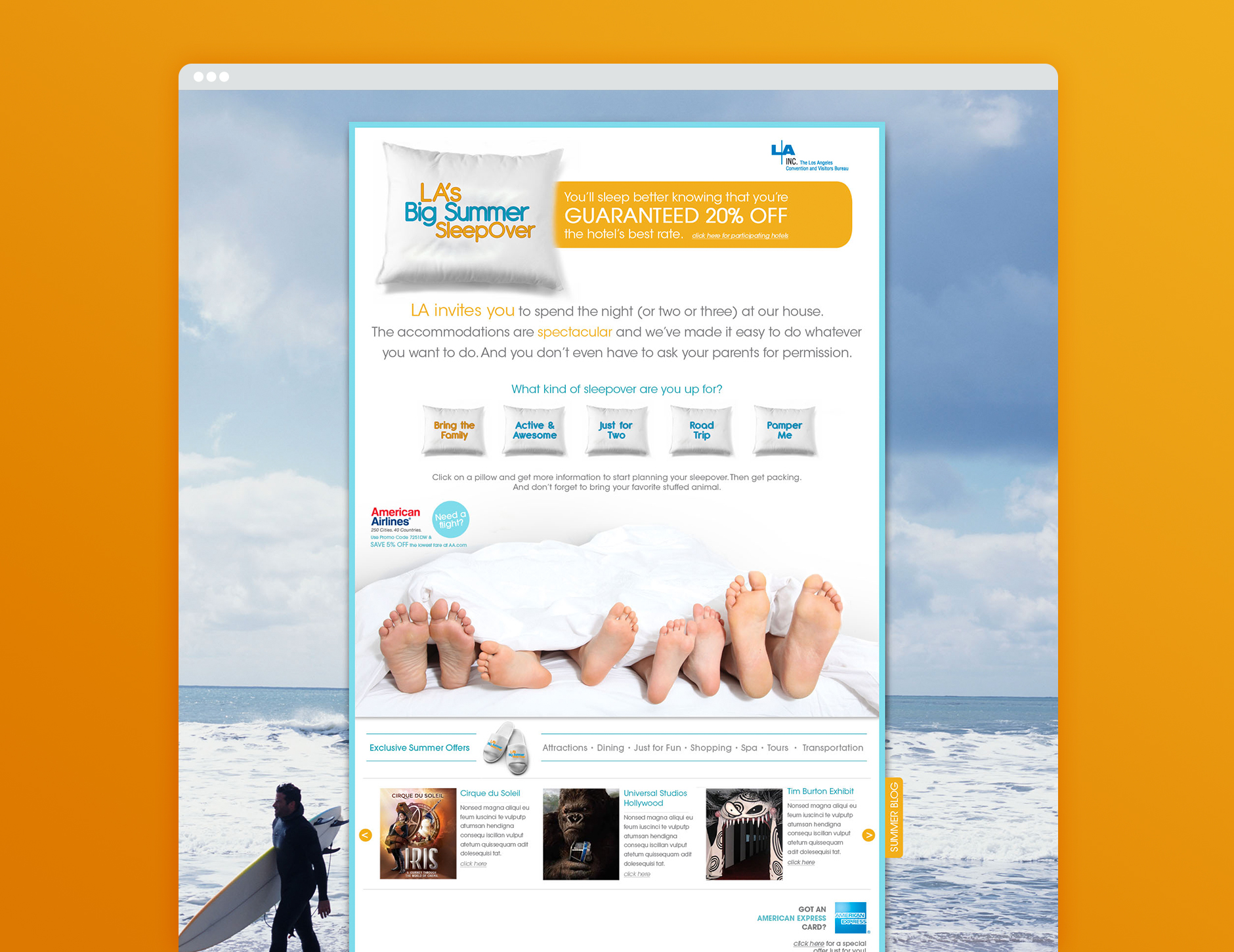 los angeles big summer sleepover landing page