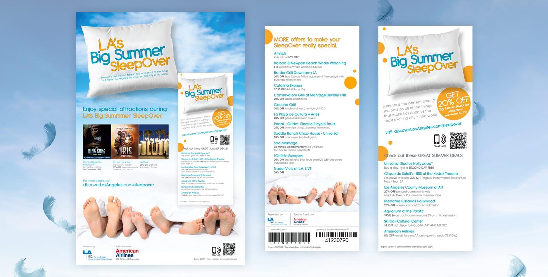 los angeles big summer sleepover promotion rack card